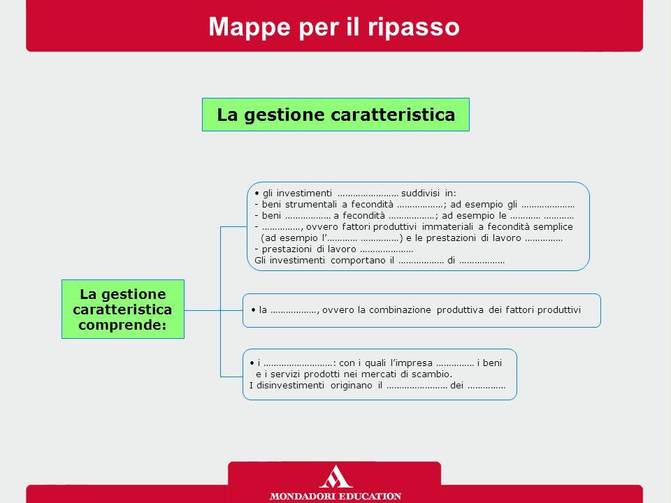 Mappe per il ripasso gli investimenti …………………… suddivisi in: - beni strumentali a fecondità ………………; ad esempio gli ………………… - beni ……………… a fecondità ………………; ad esempio le ………… ………… - ……………, ovvero fattori produttivi immateriali a fecondità semplice (ad esempio l'………… ……………) e le prestazioni di lavoro …………… - prestazioni di lavoro ………………… Gli investimenti comportano il ……………… di ……………… la ………………, ovvero la combinazione produttiva dei fattori produttivi i ………………………: con i quali l'impresa …………… i beni e i servizi prodotti nei mercati di scambio.