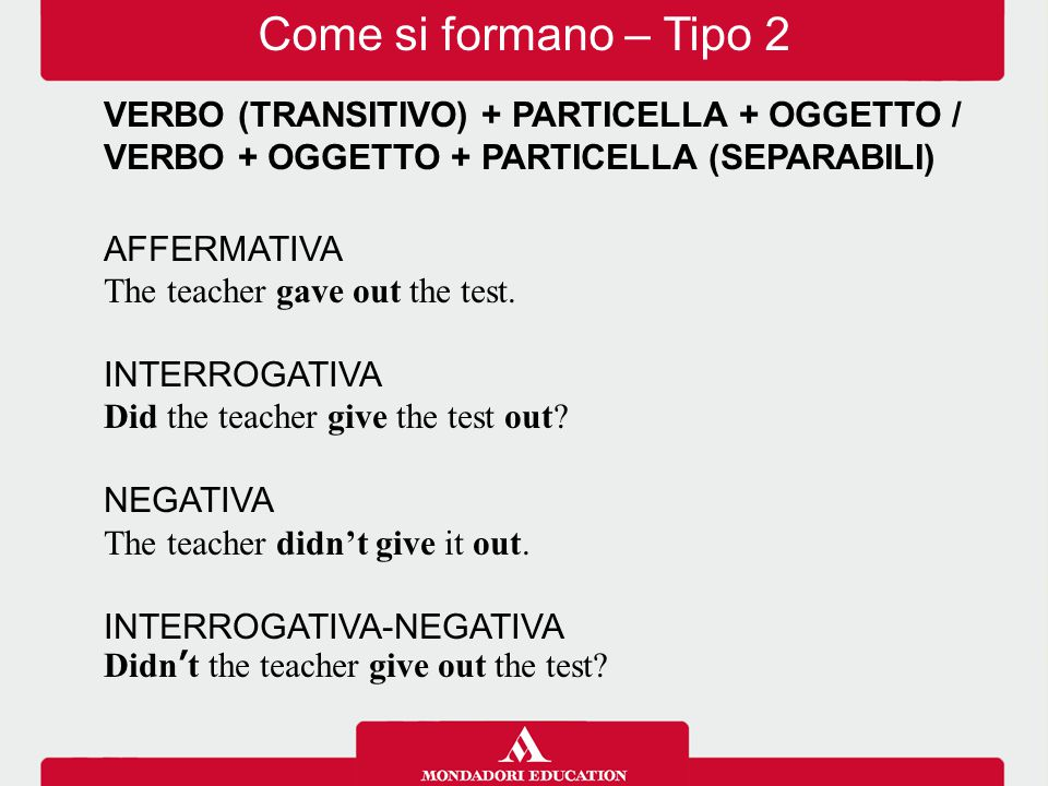 VERBO (TRANSITIVO) + PARTICELLA + OGGETTO / VERBO + OGGETTO + PARTICELLA (SEPARABILI) AFFERMATIVA The teacher gave out the test. INTERROGATIVA Did the