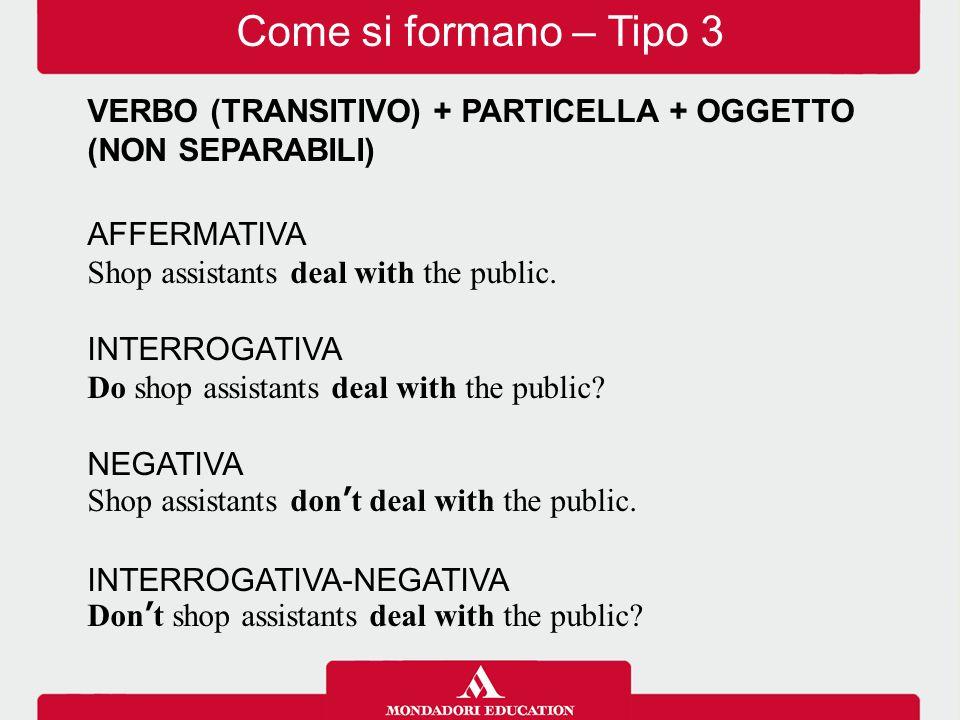 VERBO (TRANSITIVO) + PARTICELLA + PARTICELLA + OGGETTO (NON SEPARABILI) AFFERMATIVA The boy stood up for his rights.