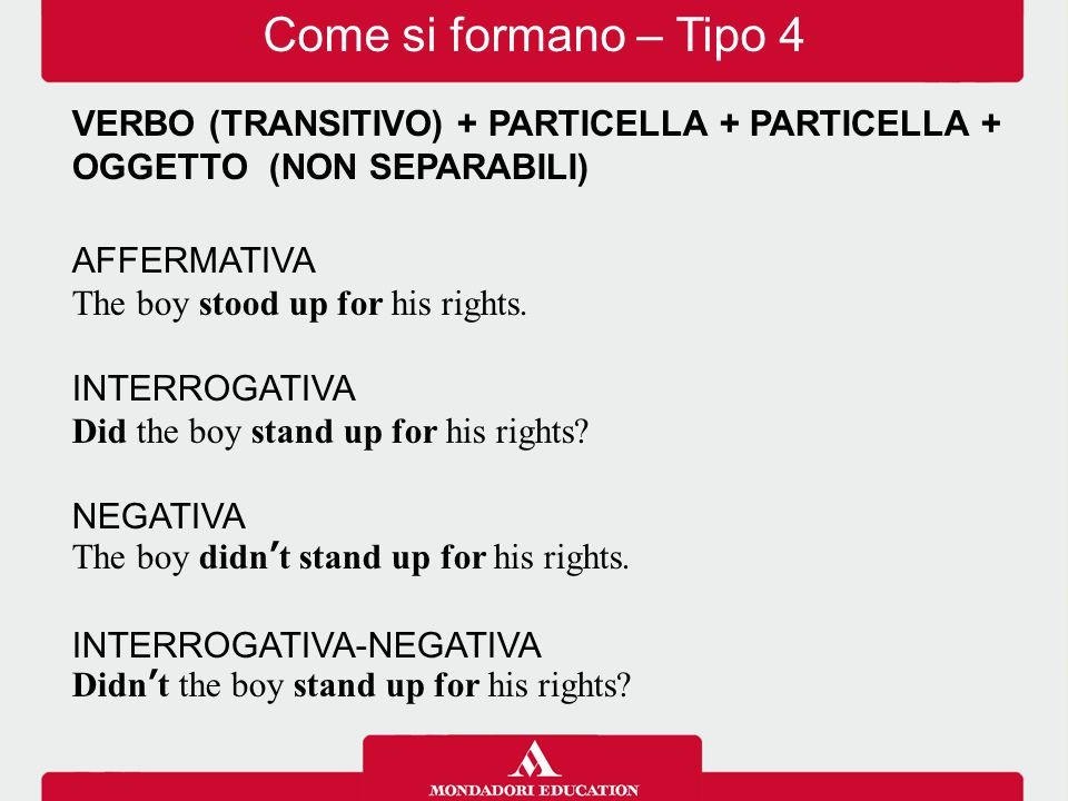 VERBO (TRANSITIVO) + PARTICELLA + PARTICELLA + OGGETTO (NON SEPARABILI) AFFERMATIVA The boy stood up for his rights.