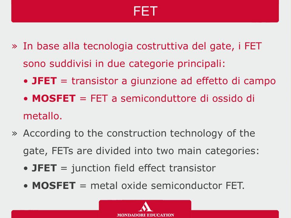 »I JFET sono ulteriormente suddivisi in due tipi: a canale n oppure a canale p, a seconda del tipo di portatori di cariche che sono presenti nel canale che unisce il drain con il source.