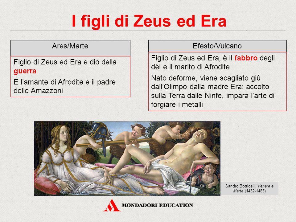 I figli di Zeus ed Era Ares/Marte Figlio di Zeus ed Era e dio della guerra È l'amante di Afrodite e il padre delle Amazzoni Efesto/Vulcano Figlio di Z