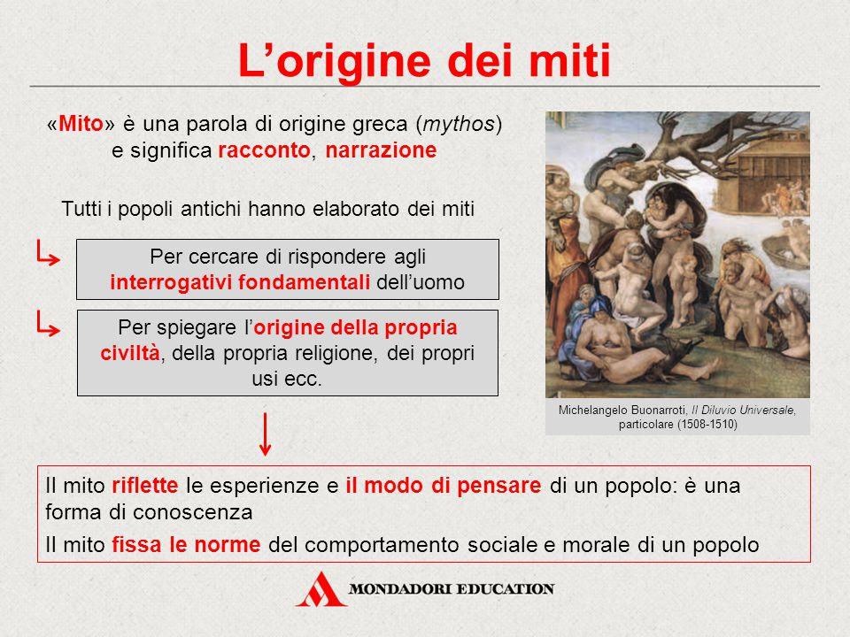 L'origine dei miti «Mito» è una parola di origine greca (mythos) e significa racconto, narrazione Il mito riflette le esperienze e il modo di pensare