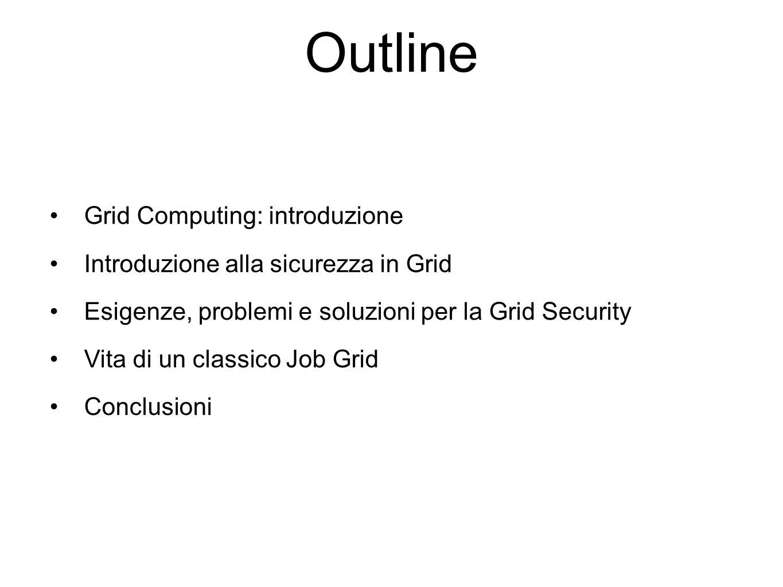 Outline Grid Computing: introduzione Introduzione alla sicurezza in Grid Esigenze, problemi e soluzioni per la Grid Security Vita di un classico Job Grid Conclusioni