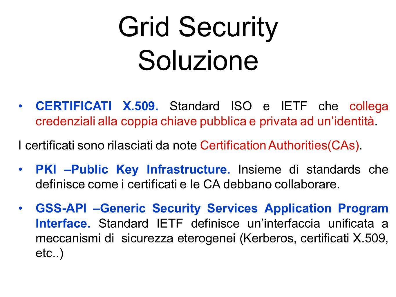 Grid Security Soluzione CERTIFICATI X.509.