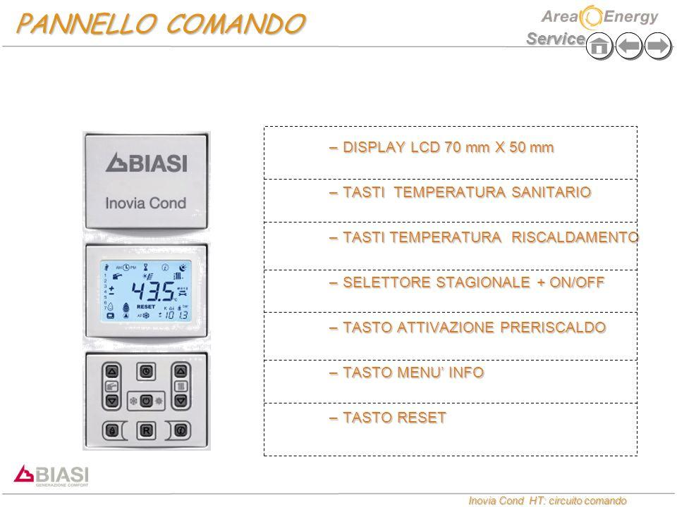 Service Inovia Cond HT: circuito comando Inovia Cond HT: circuito comando PANNELLO COMANDO –DISPLAY LCD 70 mm X 50 mm –TASTI TEMPERATURA SANITARIO –TASTI TEMPERATURA RISCALDAMENTO –SELETTORE STAGIONALE + ON/OFF –TASTO ATTIVAZIONE PRERISCALDO –TASTO MENU' INFO –TASTO RESET