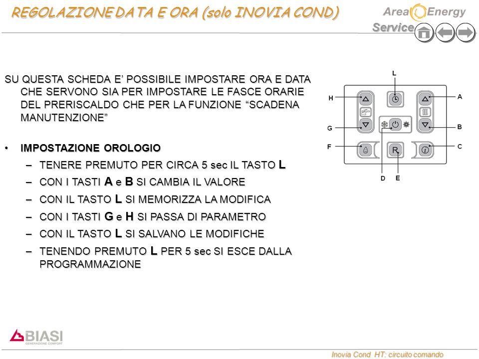 Service Inovia Cond HT: circuito comando Inovia Cond HT: circuito comando REGOLAZIONE DATA E ORA (solo INOVIA COND) SU QUESTA SCHEDA E' POSSIBILE IMPOSTARE ORA E DATA CHE SERVONO SIA PER IMPOSTARE LE FASCE ORARIE DEL PRERISCALDO CHE PER LA FUNZIONE SCADENA MANUTENZIONE IMPOSTAZIONE OROLOGIOIMPOSTAZIONE OROLOGIO –TENERE PREMUTO PER CIRCA 5 sec IL TASTO L –CON I TASTI A e B SI CAMBIA IL VALORE –CON IL TASTO L SI MEMORIZZA LA MODIFICA –CON I TASTI G e H SI PASSA DI PARAMETRO –CON IL TASTO L SI SALVANO LE MODIFICHE –TENENDO PREMUTO L PER 5 sec SI ESCE DALLA PROGRAMMAZIONE
