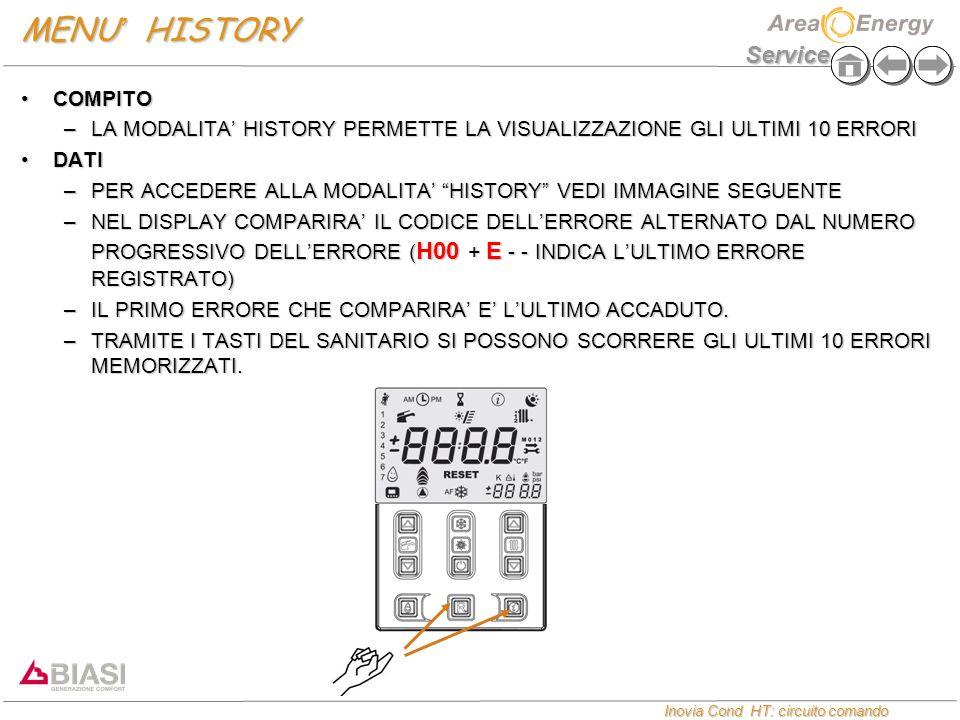 Service Inovia Cond HT: circuito comando Inovia Cond HT: circuito comando MENU ' HISTORY COMPITOCOMPITO –LA MODALITA' HISTORY PERMETTE LA VISUALIZZAZIONE GLI ULTIMI 10 ERRORI DATIDATI –PER ACCEDERE ALLA MODALITA' HISTORY VEDI IMMAGINE SEGUENTE –NEL DISPLAY COMPARIRA' IL CODICE DELL'ERRORE ALTERNATO DAL NUMERO PROGRESSIVO DELL'ERRORE ( H00 + E - - INDICA L'ULTIMO ERRORE REGISTRATO) –IL PRIMO ERRORE CHE COMPARIRA' E' L'ULTIMO ACCADUTO.