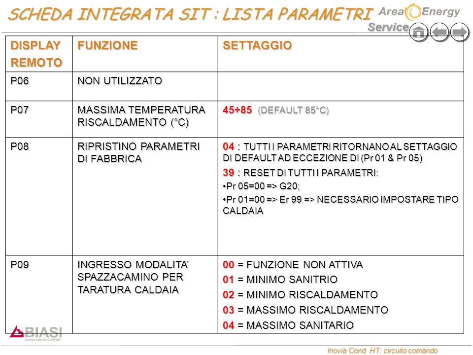 Service Inovia Cond HT: circuito comando Inovia Cond HT: circuito comando DISPLAYREMOTOFUNZIONESETTAGGIO P06 NON UTILIZZATO P07 MASSIMA TEMPERATURA RISCALDAMENTO (°C) 45÷85 (DEFAULT 85°C) P08 RIPRISTINO PARAMETRI DI FABBRICA 04 : TUTTI I PARAMETRI RITORNANO AL SETTAGGIO DI DEFAULT AD ECCEZIONE DI (Pr 01 & Pr 05) 39 : RESET DI TUTTI I PARAMETRI: Pr 05=00 => G20;Pr 05=00 => G20; Pr 01=00 => Er 99 => NECESSARIO IMPOSTARE TIPO CALDAIAPr 01=00 => Er 99 => NECESSARIO IMPOSTARE TIPO CALDAIA P09 INGRESSO MODALITA' SPAZZACAMINO PER TARATURA CALDAIA 00 = FUNZIONE NON ATTIVA 01 = MINIMO SANITRIO 02 = MINIMO RISCALDAMENTO 03 = MASSIMO RISCALDAMENTO 04 = MASSIMO SANITARIO SCHEDA INTEGRATA SIT : LISTA PARAMETRI