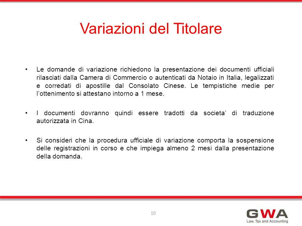 Le domande di variazione richiedono la presentazione dei documenti ufficiali rilasciati dalla Camera di Commercio o autenticati da Notaio in Italia, l