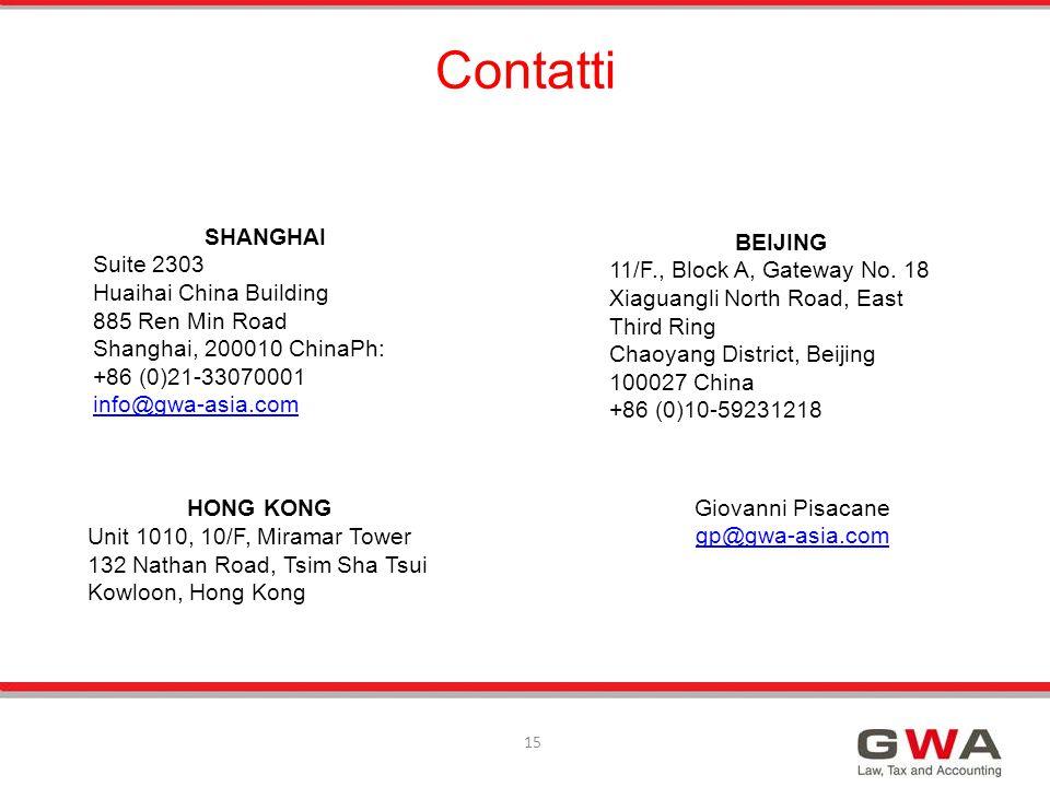 15 HONG KONG Unit 1010, 10/F, Miramar Tower 132 Nathan Road, Tsim Sha Tsui Kowloon, Hong Kong Contatti Giovanni Pisacane gp@gwa-asia.com SHANGHAI Suit