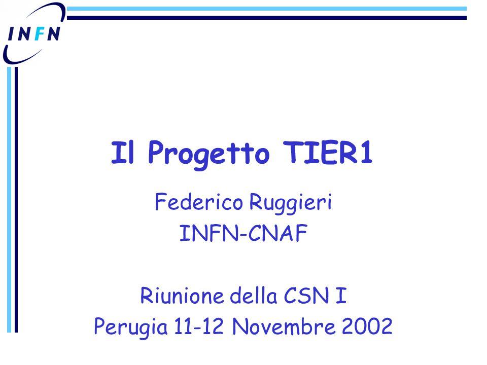 Federico Ruggieri INFN-CNAF Riunione della CSN I Perugia 11-12 Novembre 2002 Il Progetto TIER1