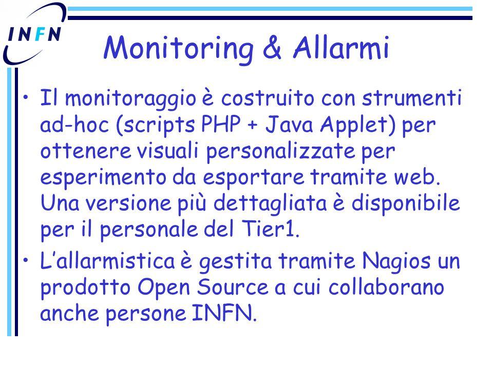Monitoring & Allarmi Il monitoraggio è costruito con strumenti ad-hoc (scripts PHP + Java Applet) per ottenere visuali personalizzate per esperimento da esportare tramite web.