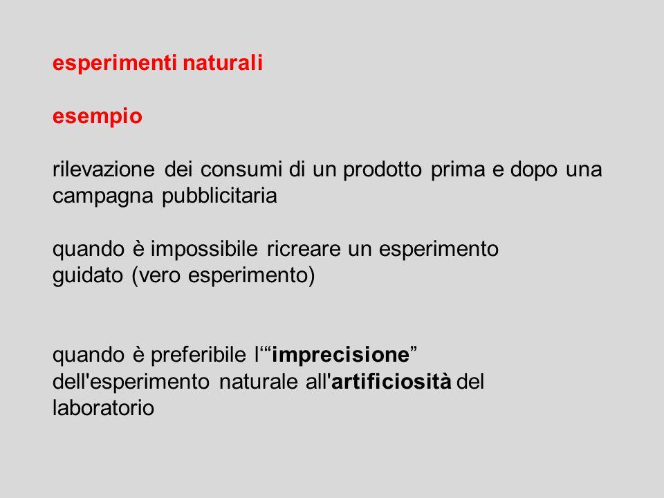 esperimenti naturali esempio rilevazione dei consumi di un prodotto prima e dopo una campagna pubblicitaria quando è impossibile ricreare un esperimen
