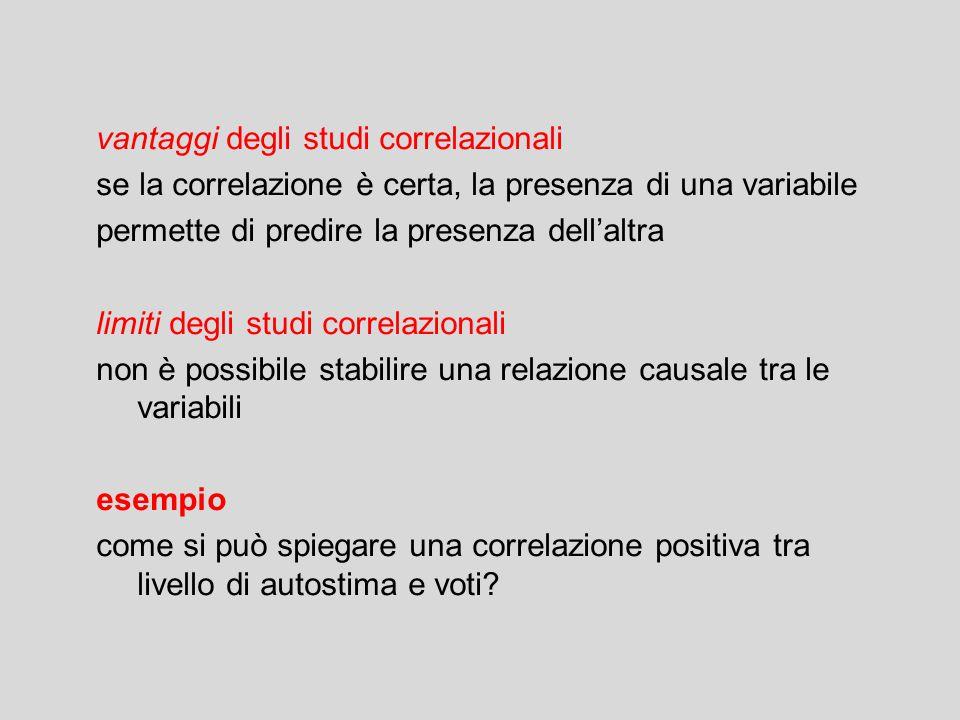 vantaggi degli studi correlazionali se la correlazione è certa, la presenza di una variabile permette di predire la presenza dell'altra limiti degli s