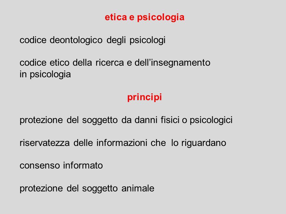 etica e psicologia codice deontologico degli psicologi codice etico della ricerca e dell'insegnamento in psicologia principi protezione del soggetto d
