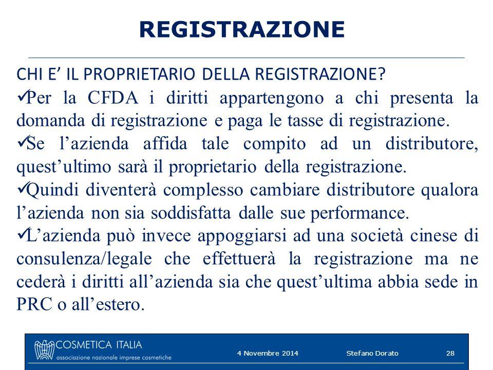 REGISTRAZIONE CHI E' IL PROPRIETARIO DELLA REGISTRAZIONE? Per la CFDA i diritti appartengono a chi presenta la domanda di registrazione e paga le tass