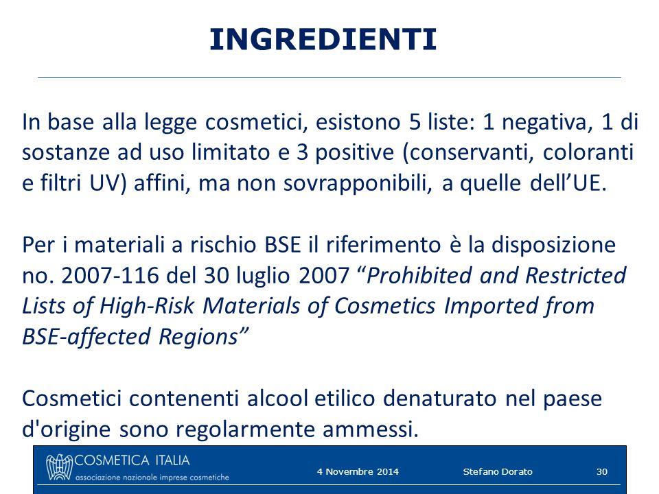 INGREDIENTI In base alla legge cosmetici, esistono 5 liste: 1 negativa, 1 di sostanze ad uso limitato e 3 positive (conservanti, coloranti e filtri UV) affini, ma non sovrapponibili, a quelle dell'UE.