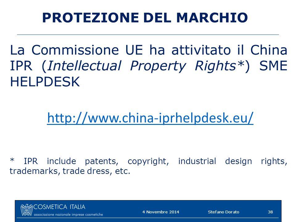 PROTEZIONE DEL MARCHIO La Commissione UE ha attivitato il China IPR (Intellectual Property Rights*) SME HELPDESK http://www.china-iprhelpdesk.eu/ * IPR include patents, copyright, industrial design rights, trademarks, trade dress, etc.