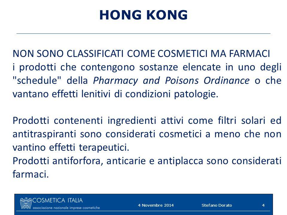 HONG KONG NON SONO CLASSIFICATI COME COSMETICI MA FARMACI i prodotti che contengono sostanze elencate in uno degli
