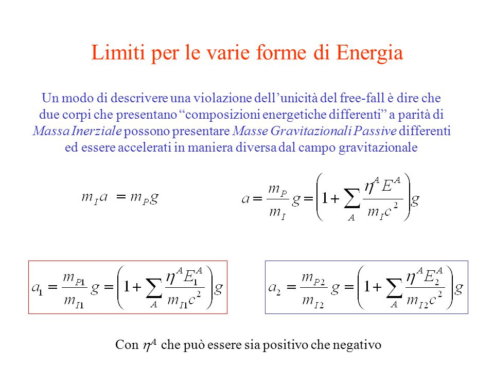 Limiti per le varie forme di Energia Un modo di descrivere una violazione dell'unicità del free-fall è dire che due corpi che presentano composizioni energetiche differenti a parità di Massa Inerziale possono presentare Masse Gravitazionali Passive differenti ed essere accelerati in maniera diversa dal campo gravitazionale Con   che può essere sia positivo che negativo