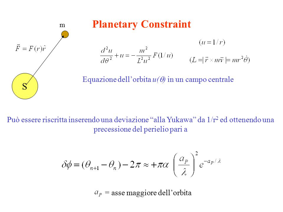 Planetary Constraint S Equazione dell'orbita u(  ) in un campo centrale Può essere riscritta inserendo una deviazione alla Yukawa da 1/r 2 ed ottenendo una precessione del perielio pari a m = asse maggiore dell'orbita
