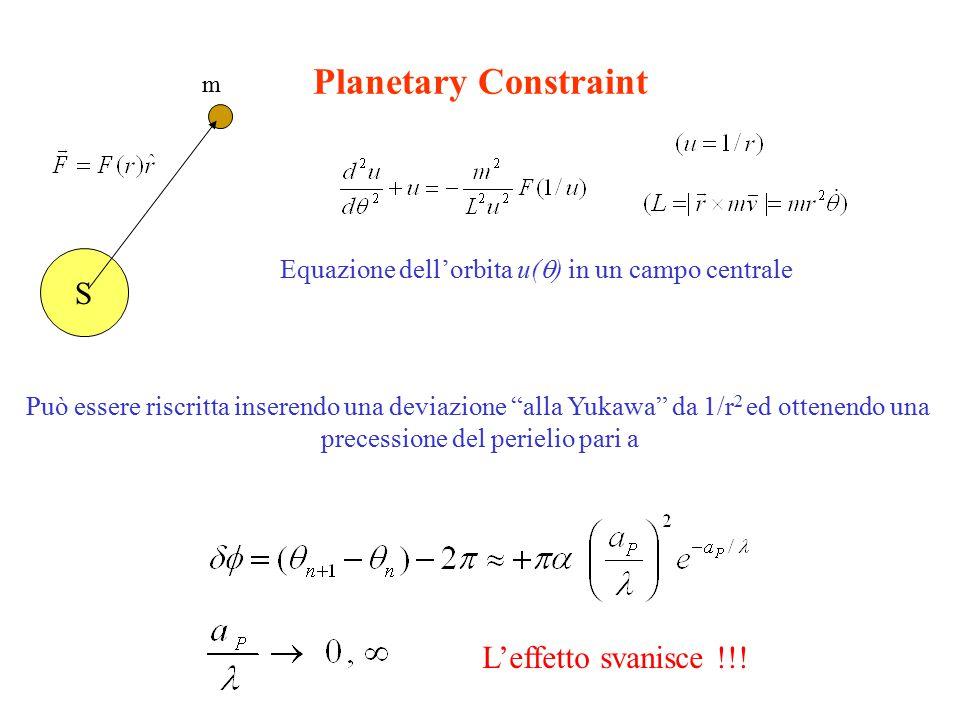 Planetary Constraint S Equazione dell'orbita u(  ) in un campo centrale Può essere riscritta inserendo una deviazione alla Yukawa da 1/r 2 ed ottenendo una precessione del perielio pari a m L'effetto svanisce !!!