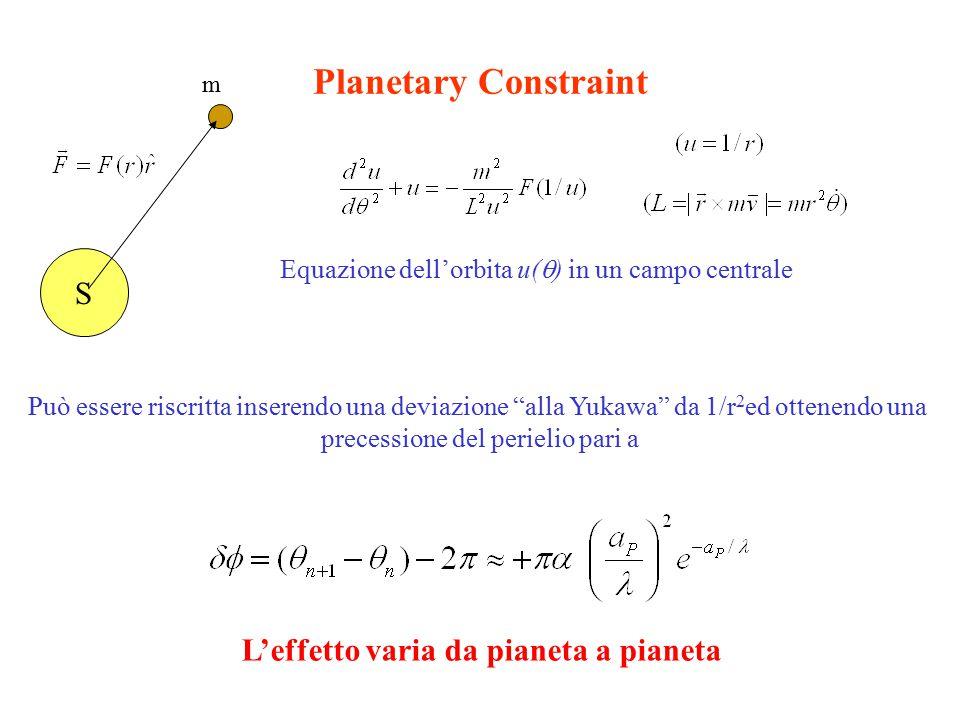 Planetary Constraint S Equazione dell'orbita u(  ) in un campo centrale Può essere riscritta inserendo una deviazione alla Yukawa da 1/r 2 ed ottenendo una precessione del perielio pari a m L'effetto varia da pianeta a pianeta