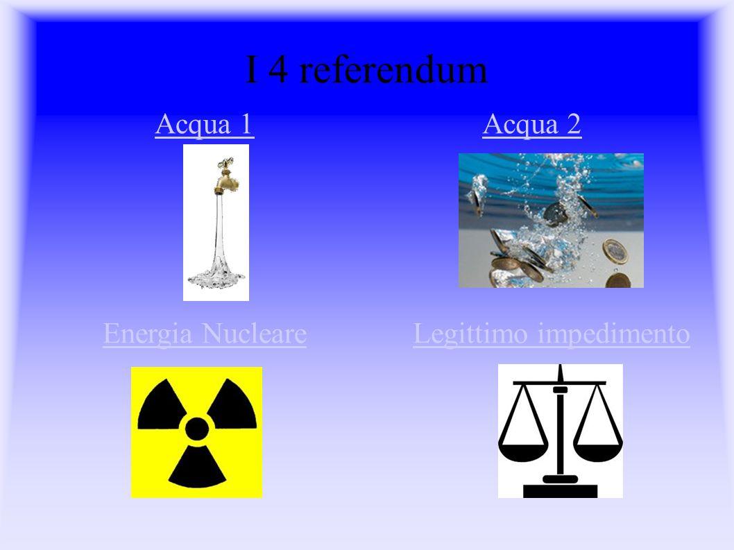 I 4 referendum Energia NucleareLegittimo impedimento Acqua 2Acqua 1