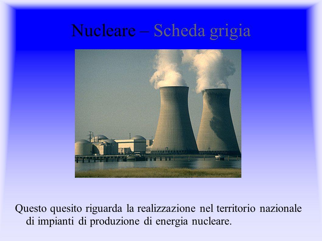 Nucleare – Scheda grigia Questo quesito riguarda la realizzazione nel territorio nazionale di impianti di produzione di energia nucleare.