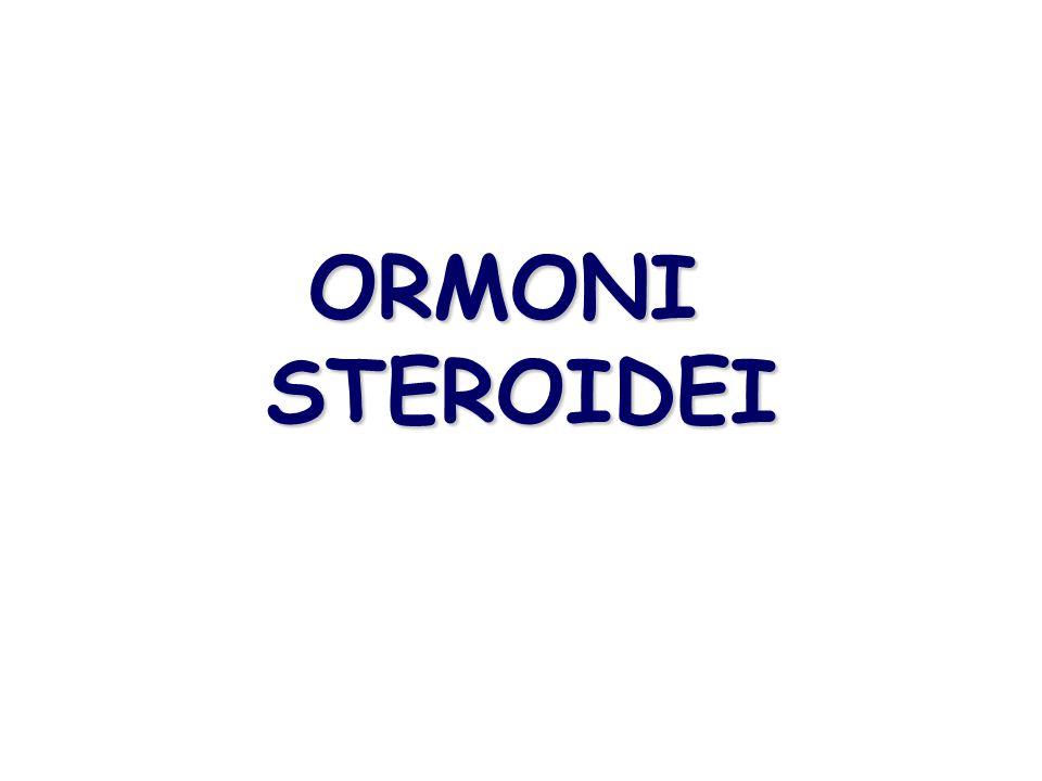 ORMONI STEROIDEI COLESTEROLO C27  PREGNENOLONE C21  PROGESTERONE C21 GLUCORTICOIDI C21 cortisolo MINERALCORTICOIDI C21 aldosterone ANDROGENI C19 ESTROGENI C18