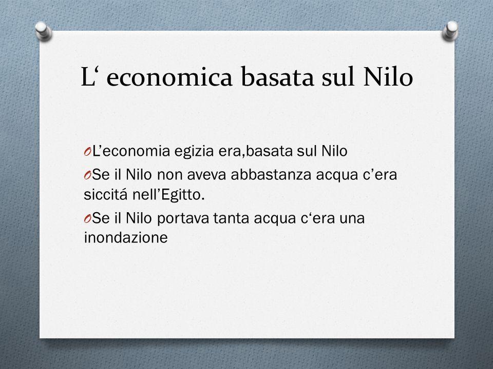 L' economica basata sul Nilo O L'economia egizia era,basata sul Nilo O Se il Nilo non aveva abbastanza acqua c'era siccitá nell'Egitto.