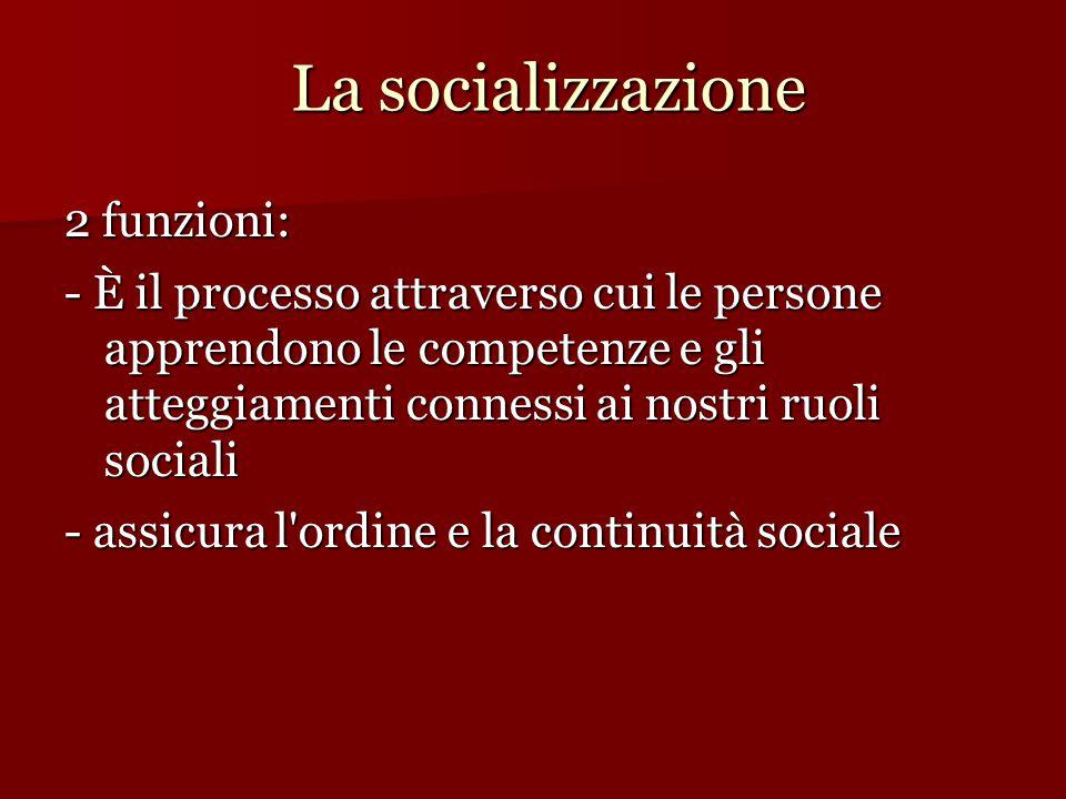 La socializzazione 2 funzioni: - È il processo attraverso cui le persone apprendono le competenze e gli atteggiamenti connessi ai nostri ruoli sociali - assicura l ordine e la continuità sociale