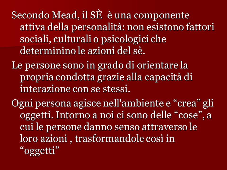 Secondo Mead, il SÈ è una componente attiva della personalità: non esistono fattori sociali, culturali o psicologici che determinino le azioni del sè.