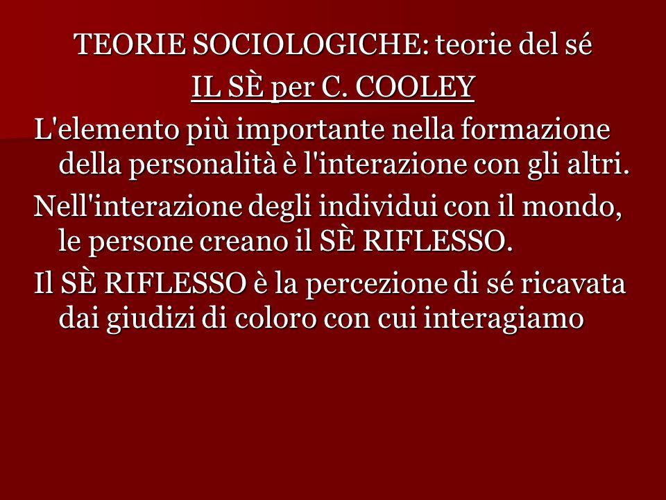 TEORIE SOCIOLOGICHE: teorie del sé IL SÈ per C.
