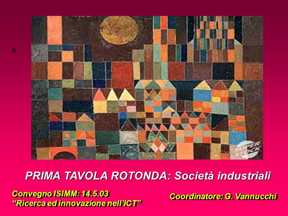 1) PRIMA TAVOLA ROTONDA: Società industriali Convegno ISIMM: 14.5.03 Ricerca ed innovazione nell'ICT Convegno ISIMM: 14.5.03 Ricerca ed innovazione nell'ICT Coordinatore: G.