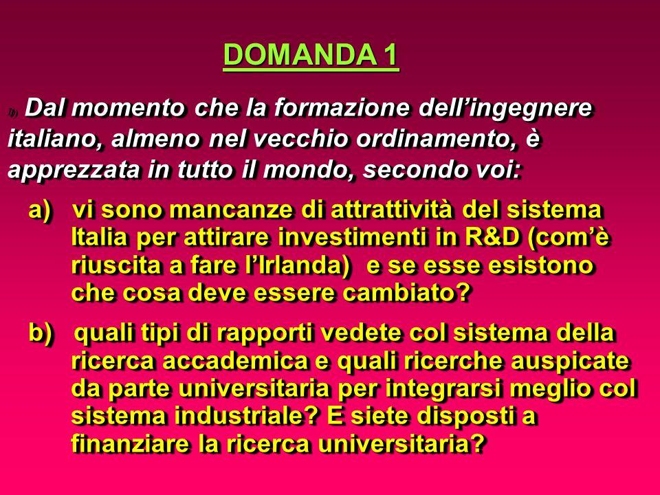 Dal momento che la formazione dell'ingegnere italiano, almeno nel vecchio ordinamento, è apprezzata in tutto il mondo, secondo voi: 1) Dal momento che la formazione dell'ingegnere italiano, almeno nel vecchio ordinamento, è apprezzata in tutto il mondo, secondo voi: a) vi sono mancanze di attrattività del sistema a) vi sono mancanze di attrattività del sistema Italia per attirare investimenti in R&D (com'è Italia per attirare investimenti in R&D (com'è riuscita a fare l'Irlanda) e se esse esistono riuscita a fare l'Irlanda) e se esse esistono che cosa deve essere cambiato.
