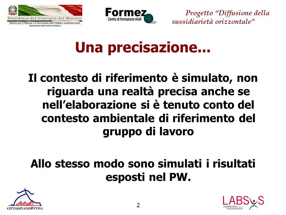 Progetto Diffusione della sussidiarietà orizzontale 3 IL GRUPPO DI LAVORO Costituitosi il 12 luglio con l'avvio della fase di sperimentazione.