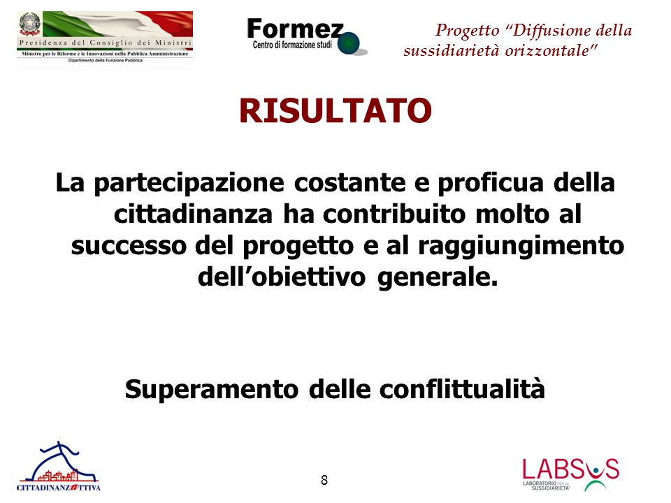 Progetto Diffusione della sussidiarietà orizzontale 8 RISULTATO La partecipazione costante e proficua della cittadinanza ha contribuito molto al successo del progetto e al raggiungimento dell'obiettivo generale.