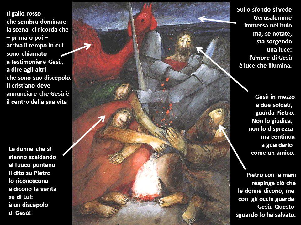 Le donne che si stanno scaldando al fuoco puntano il dito su Pietro lo riconoscono e dicono la verità su di Lui: è un discepolo di Gesù! Pietro con le