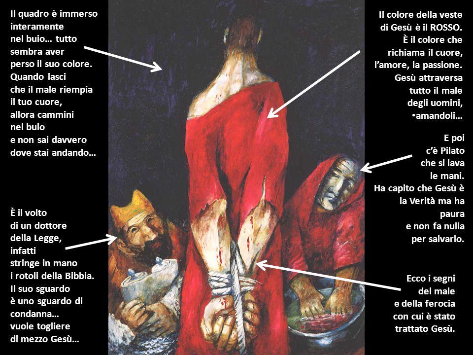 È il volto di un dottore della Legge, infatti stringe in mano i rotoli della Bibbia. Il suo sguardo è uno sguardo di condanna… vuole togliere di mezzo