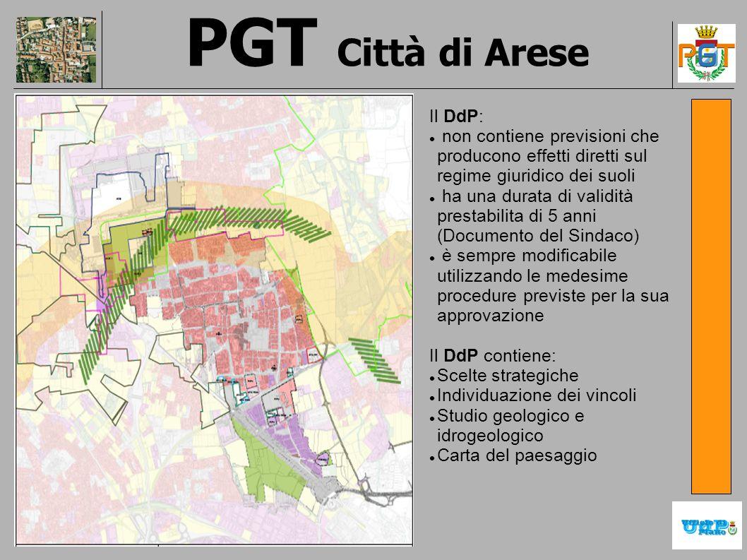 PGT Città di Arese Il DdP: non contiene previsioni che producono effetti diretti sul regime giuridico dei suoli ha una durata di validità prestabilita