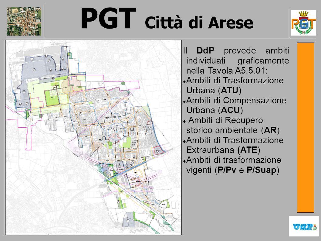 PGT Città di Arese Il DdP prevede ambiti individuati graficamente nella Tavola A5.5.01: Ambiti di Trasformazione Urbana (ATU) Ambiti di Compensazione