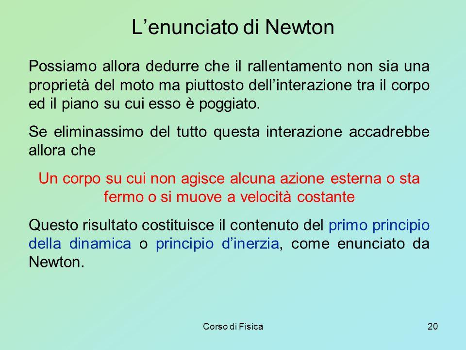 Corso di Fisica20 L'enunciato di Newton Possiamo allora dedurre che il rallentamento non sia una proprietà del moto ma piuttosto dell'interazione tra il corpo ed il piano su cui esso è poggiato.