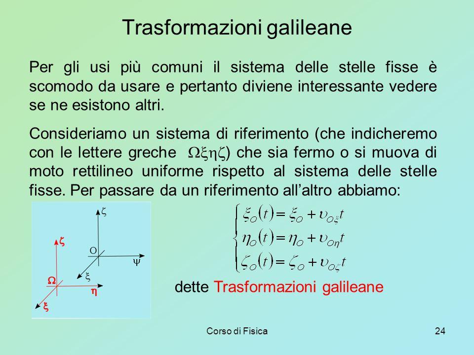 Corso di Fisica24 Trasformazioni galileane Per gli usi più comuni il sistema delle stelle fisse è scomodo da usare e pertanto diviene interessante vedere se ne esistono altri.