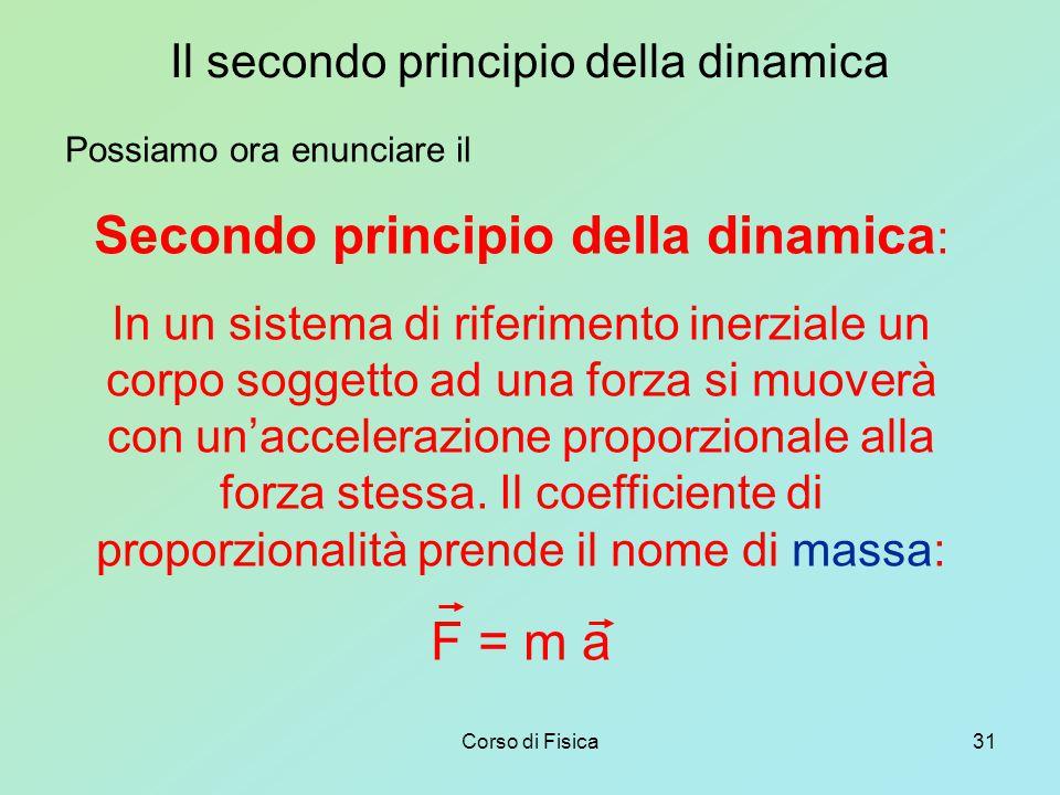 Corso di Fisica31 Il secondo principio della dinamica Possiamo ora enunciare il Secondo principio della dinamica : In un sistema di riferimento inerziale un corpo soggetto ad una forza si muoverà con un'accelerazione proporzionale alla forza stessa.