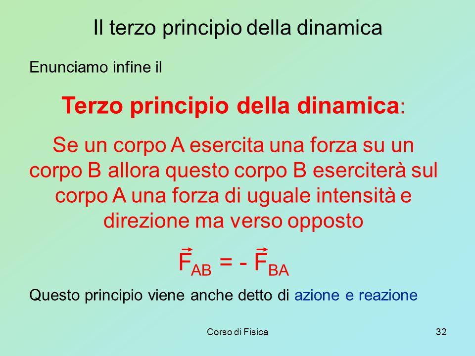 Corso di Fisica32 Il terzo principio della dinamica Enunciamo infine il Terzo principio della dinamica : Se un corpo A esercita una forza su un corpo B allora questo corpo B eserciterà sul corpo A una forza di uguale intensità e direzione ma verso opposto F AB = - F BA Questo principio viene anche detto di azione e reazione
