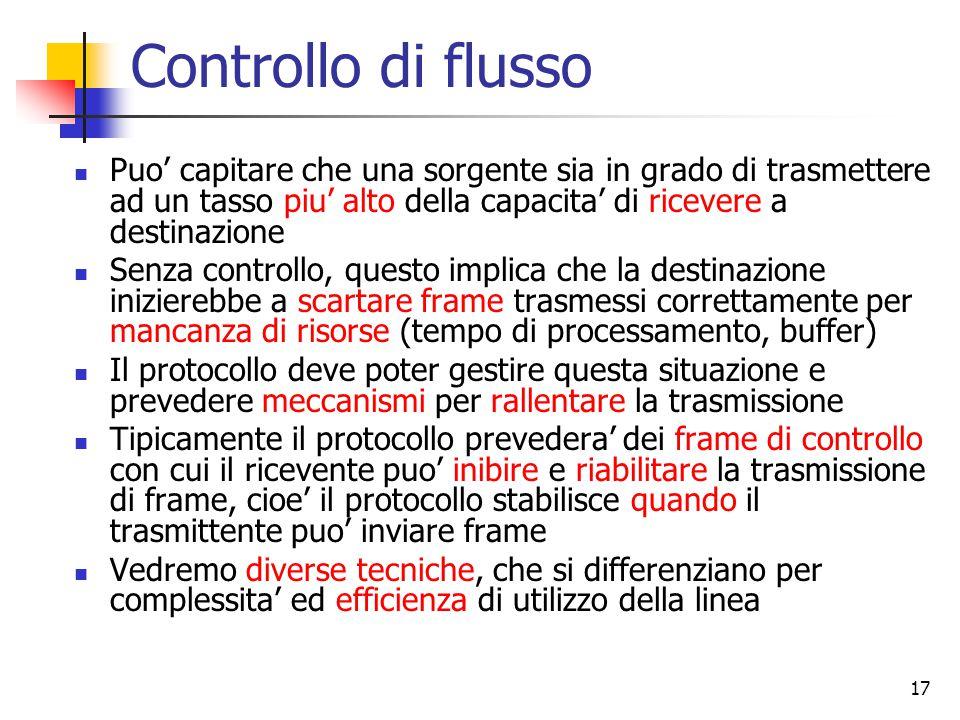 17 Controllo di flusso Puo' capitare che una sorgente sia in grado di trasmettere ad un tasso piu' alto della capacita' di ricevere a destinazione Sen
