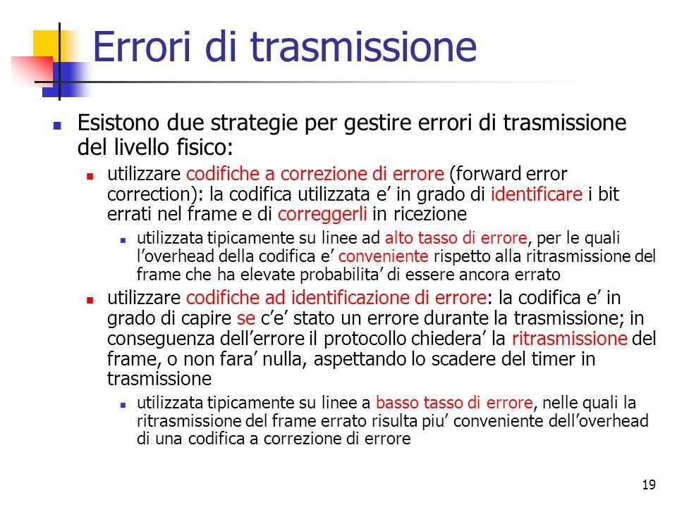 19 Errori di trasmissione Esistono due strategie per gestire errori di trasmissione del livello fisico: utilizzare codifiche a correzione di errore (f