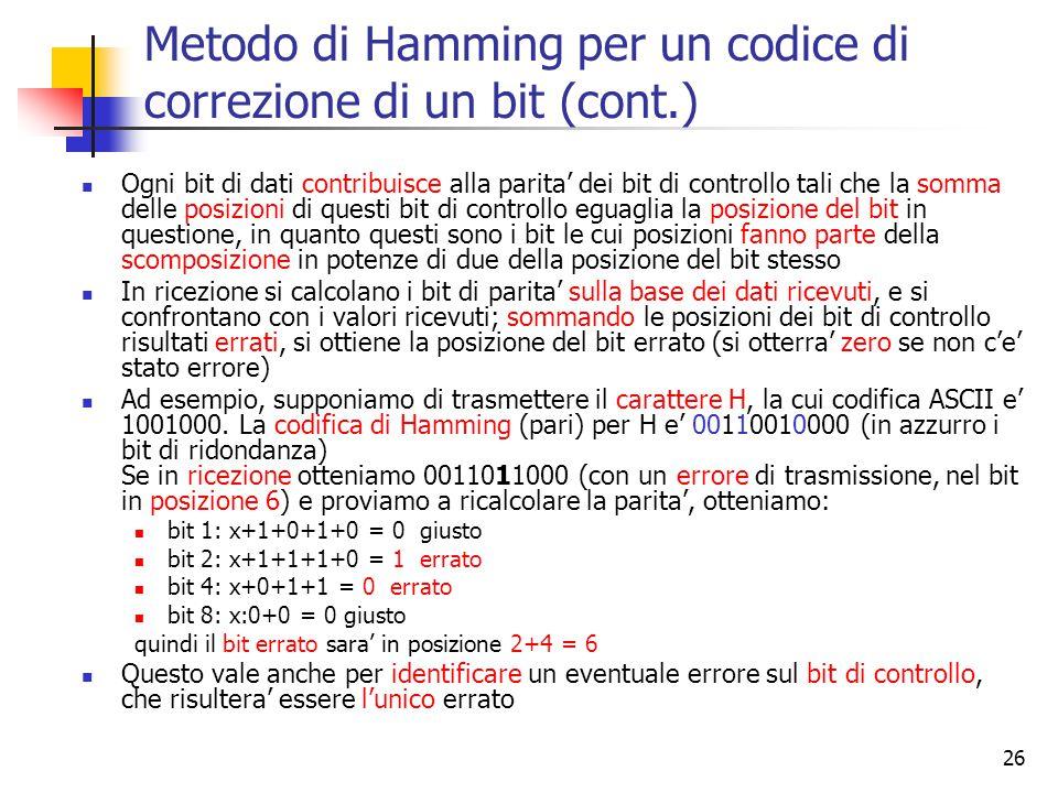 26 Metodo di Hamming per un codice di correzione di un bit (cont.) Ogni bit di dati contribuisce alla parita' dei bit di controllo tali che la somma delle posizioni di questi bit di controllo eguaglia la posizione del bit in questione, in quanto questi sono i bit le cui posizioni fanno parte della scomposizione in potenze di due della posizione del bit stesso In ricezione si calcolano i bit di parita' sulla base dei dati ricevuti, e si confrontano con i valori ricevuti; sommando le posizioni dei bit di controllo risultati errati, si ottiene la posizione del bit errato (si otterra' zero se non c'e' stato errore) Ad esempio, supponiamo di trasmettere il carattere H, la cui codifica ASCII e' 1001000.